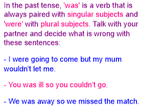 subject verb agreement (past)