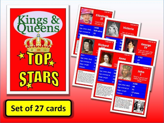 Famous British Kings and Queens Top Stars Card Game set of 27 History End of Term Activity Posters