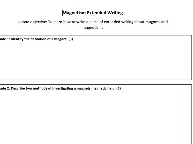 Magnetism and Electromagnetism Extended Writing Task