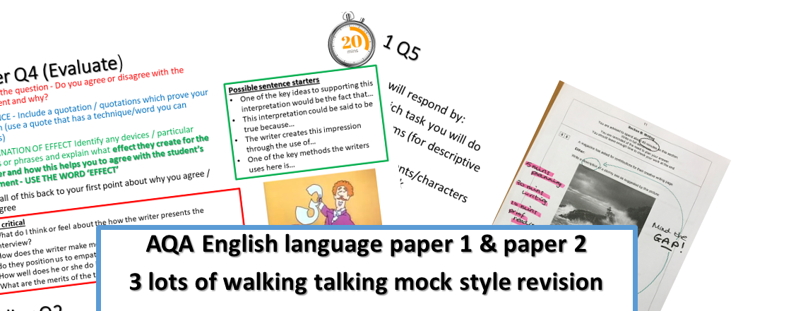 AQA English language GCSE 9-1 -3 lots of  Walking talking mock style revision lessons for paper 1 and paper 2