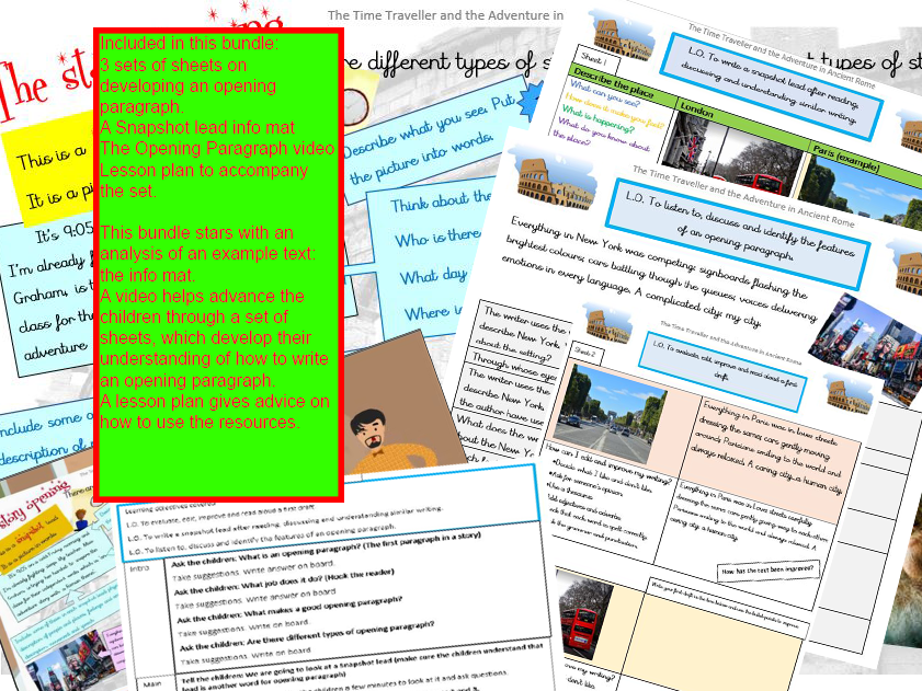 The Opening Paragraph: a Snapshot Lead lesson plan and resources including video