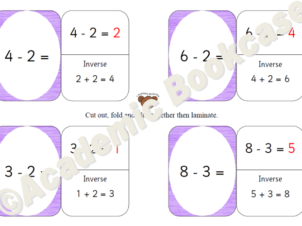 Self check maths flashcards - subtraction within 10 and 20