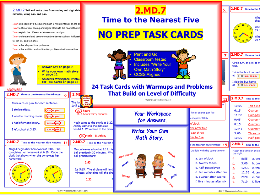 2.MD.7 Math NO PREP Task Cards— Time to Nearest Five Minutes, Using a.m. and p.m.