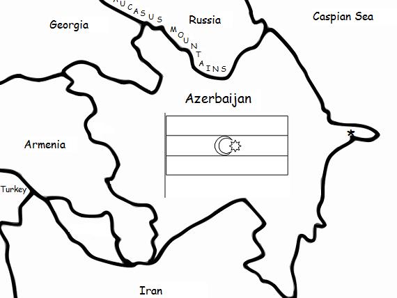 AZERBAIJAN - Printable handout with map and flag