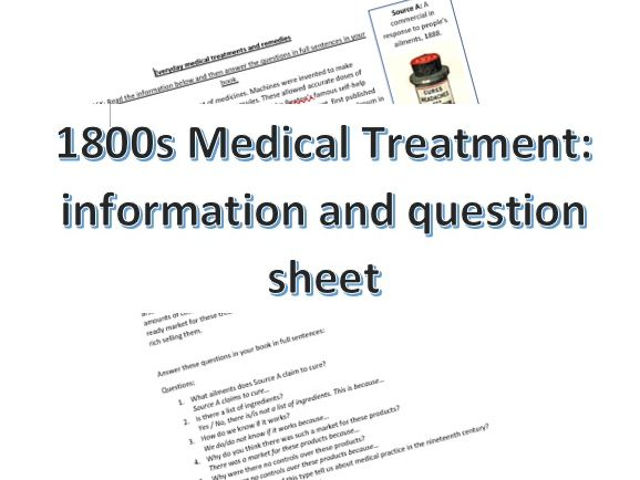 1800s Medical Rememdies Info & Question sheet