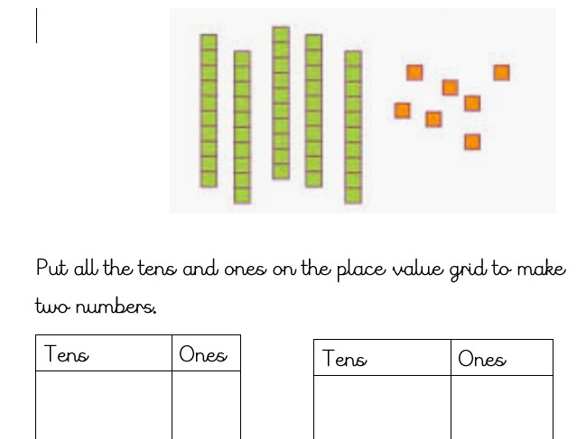 Key Stage One Year One Place Value Tens and Ones worksheets
