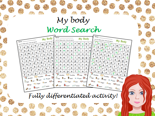 My Body Wordsearch - Differentiated