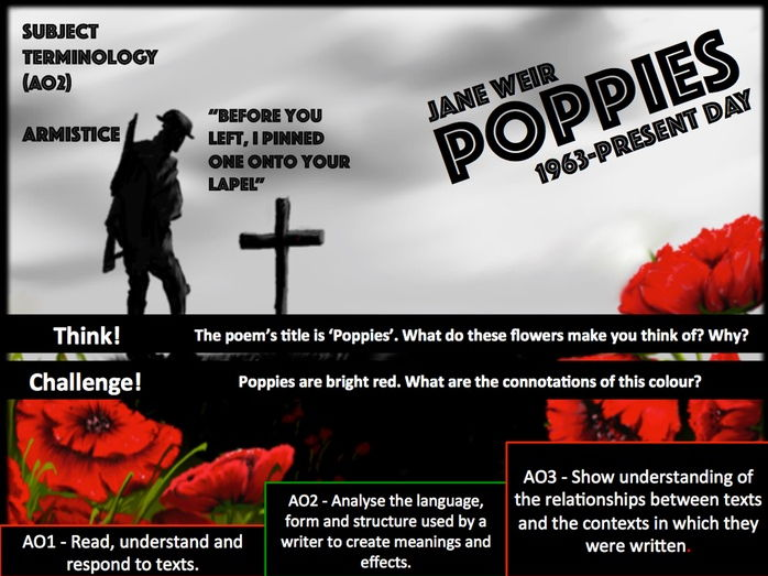 poppies jane weir essay In this essay i will be analysing the form, structure and language used in two of the poems from the conflict cluster the two poems which i have chosen to examine are out of the blue by simon armitage and poppies by jane weir.