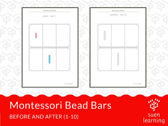 Montessori Bead Bars - before and after (1-10)