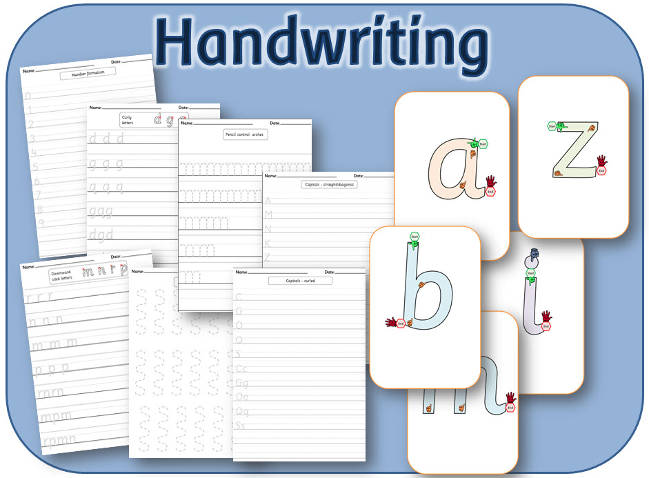 Handwriting sheets for KS1: lower and upper case letters and digits