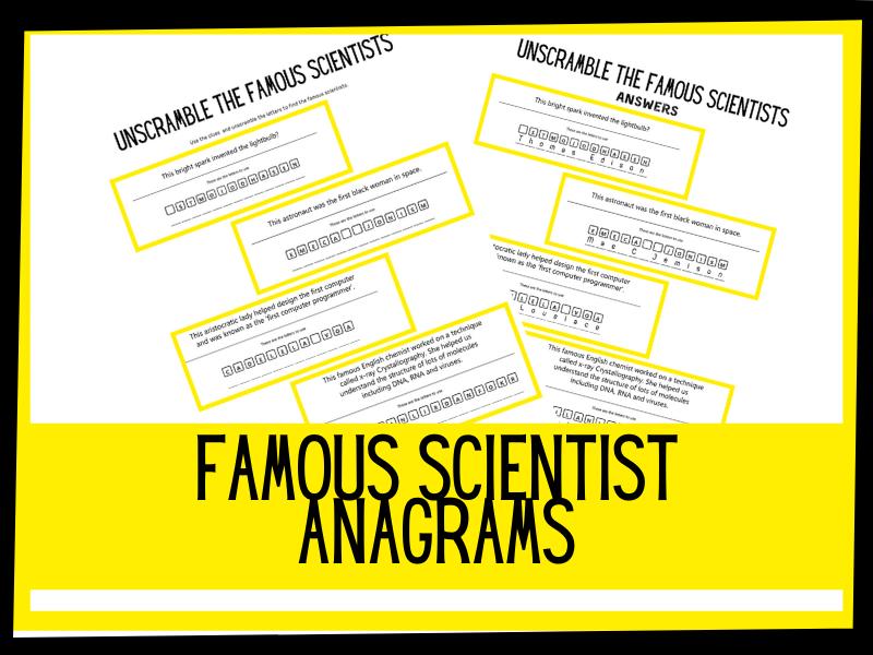 Famous scientist anagrams. KS2 worksheet