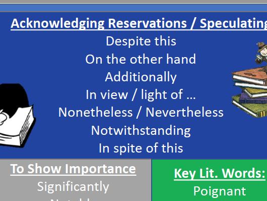 Analytical Lang Sentence Starters /  Stems