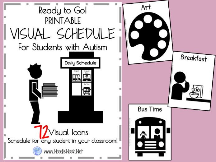 graphic about Printable Visual Schedule named Visible Routine for College students with Autism- Printable and Organized towards Shift!