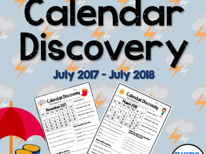 Calendar Discovery Monthly Worksheets