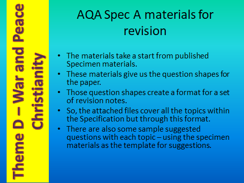 AQA GCSE (9-1) RS Spec A - Revision Materials - Theme D Religion, Peace and Conflict - Christianity