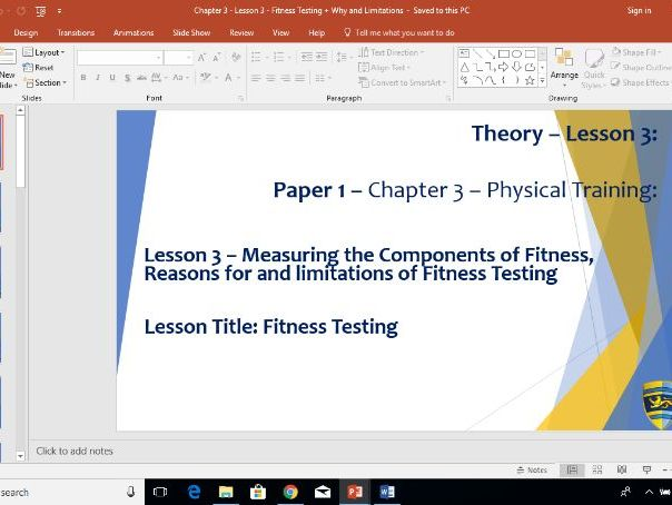 AQA GCSE PE (New Specification) Chapter 3: Physical Training - Measuring Fitness Tests - Lesson 3