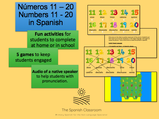 Números 11 - 20 Numbers 11 - 20 Spanish