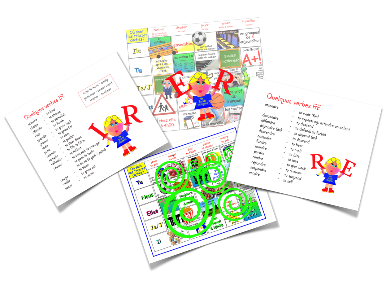OÙ SONT LES TRÉSORS CACHÉS? (3 separate  games and one composite game for ER, IR & RE verbs)