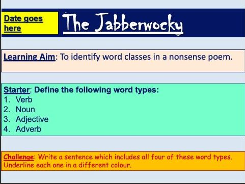 Word Classes in The Jabberwocky