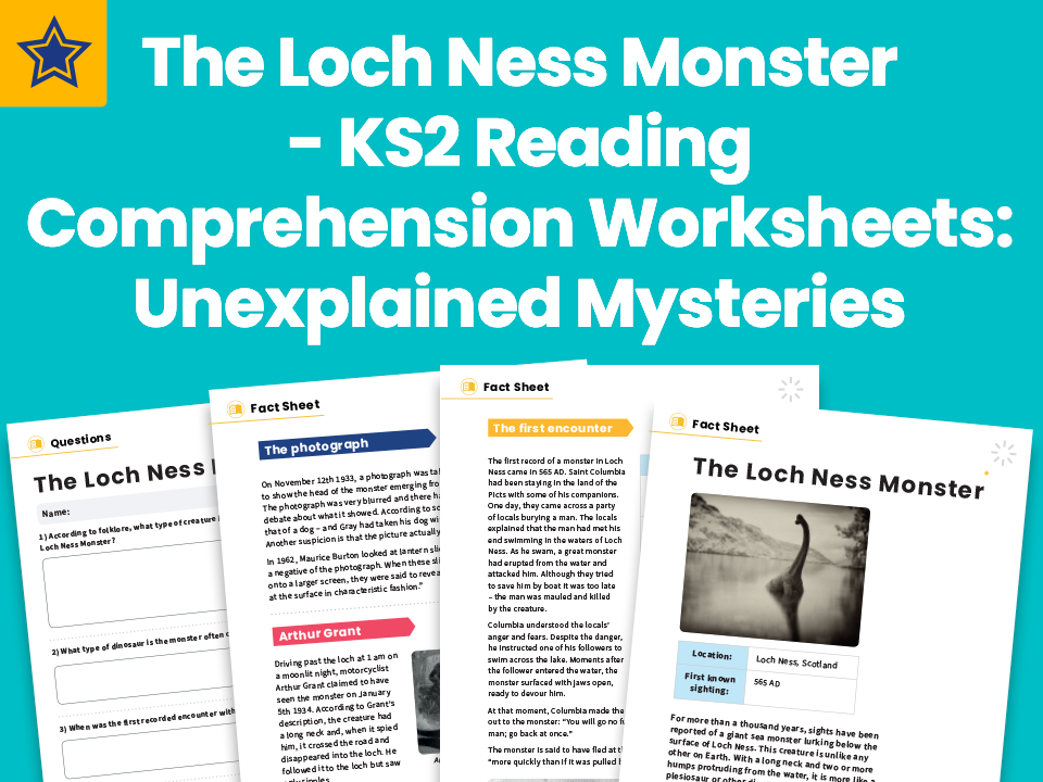 The Loch Ness Monster - KS2 Reading Comprehension Worksheets: Unexplained Mysteries