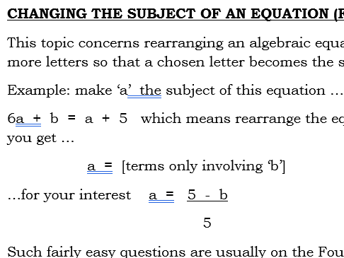 Changing the subject of an Equation Foundation GCSE (9-1)