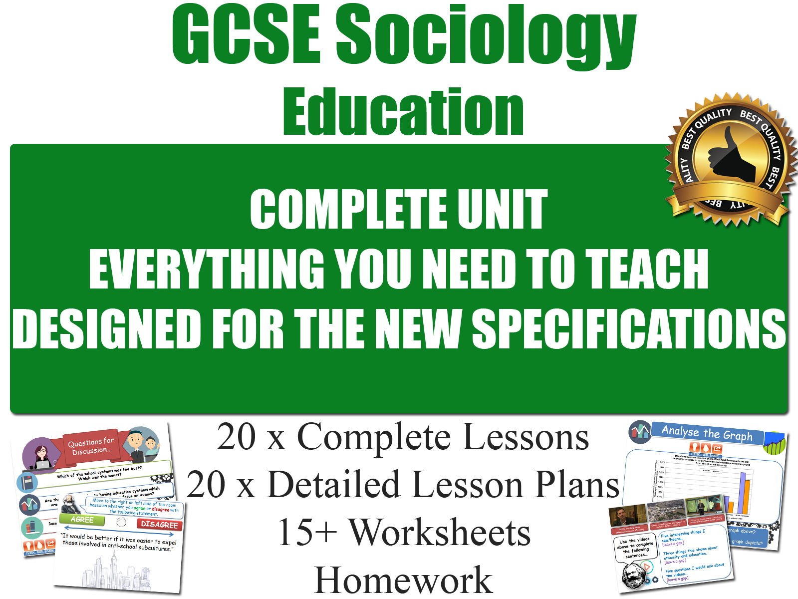 EDUCATION (20 x Lessons, Complete Unit) [ GCSE Sociology ] (Full Resources)