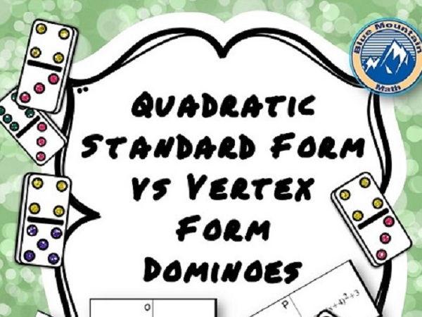 Quadratic Standard Form vs Vertex Form Domino Set