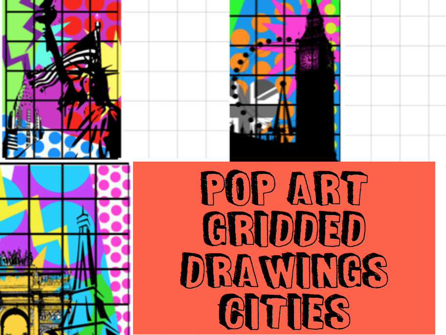 POP ART gridded drawing CITIES London, Paris, NYC Cover / Homework Tasks