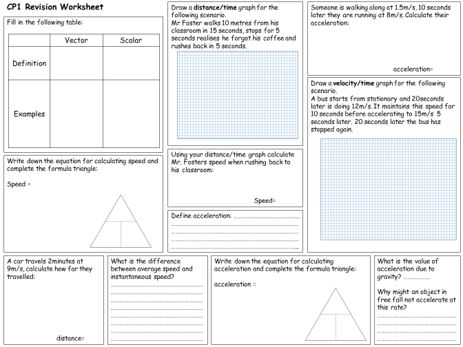 Edexcel Combined Science Physics 1 Revision Worksheets