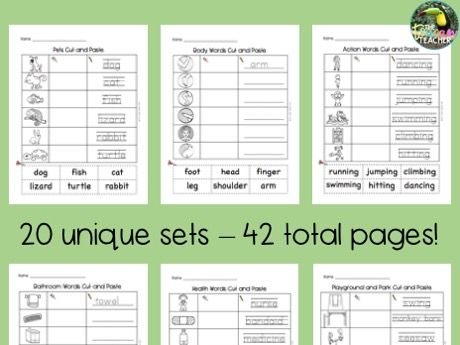Cut and Paste vocab for English learners - set 2