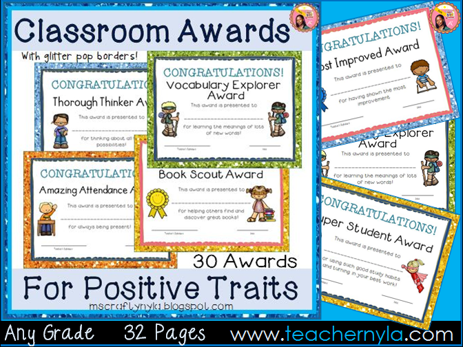 Classroom Awards - End of Year - Glitter Borders