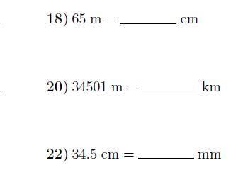 Converting metric units of length worksheet (with solutions)