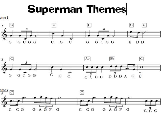 Superman Film Music Keyboard Task - KS3 Sheet Music