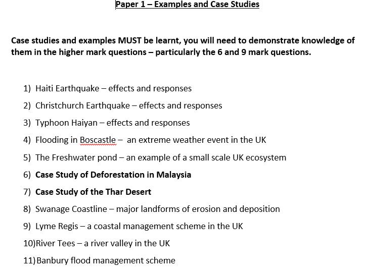 AQA GCSE - Physical Case Studies Revision Booklet