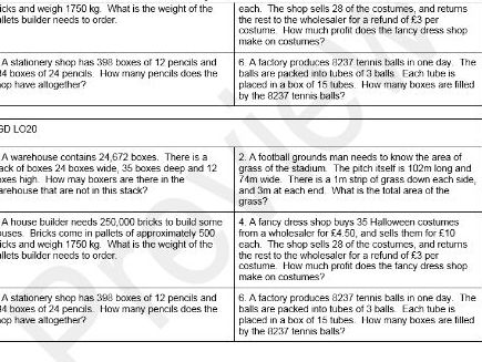 Year 5/6 word problems bar method