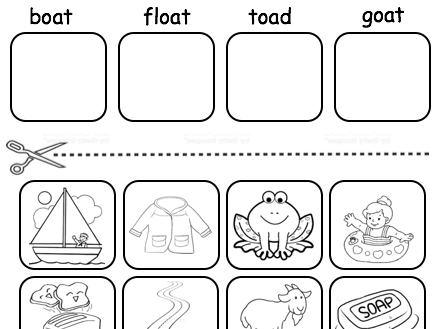 'oa' digraph matching words to pictures