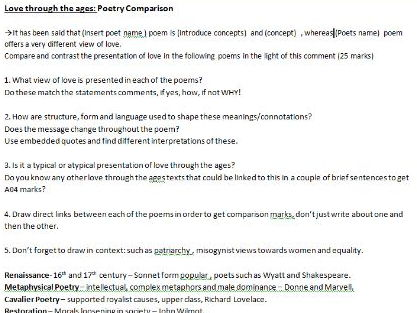 UNSEEN PROSE AND UNSEEN POETRY COMPARISON- AQA