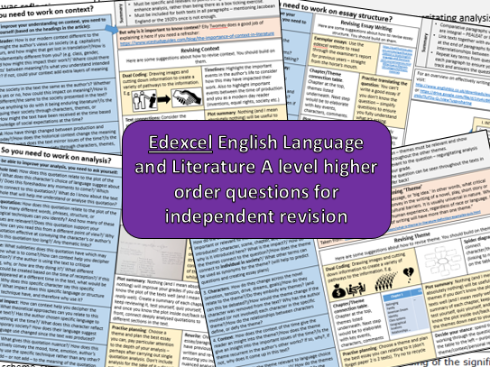 Higher order revision questions: A level English language and literature