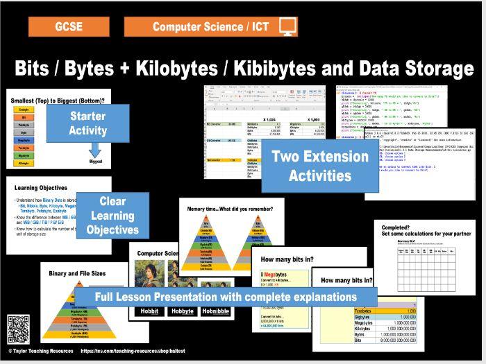 Binary Storage - Bits / Bytes - KB and KiB  - Computer Science / ICT GCSE - Full lesson