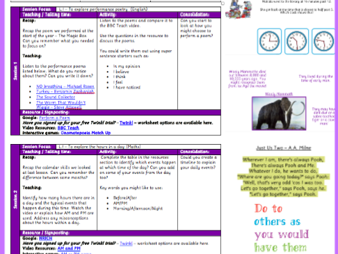 Y3 Home Learning Pack - Time, Poetry & Across Curriculum.