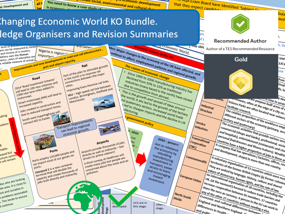 GCSE AQA 9-1 Economic World Knowledge Organisers and Revision Summaries Bundle