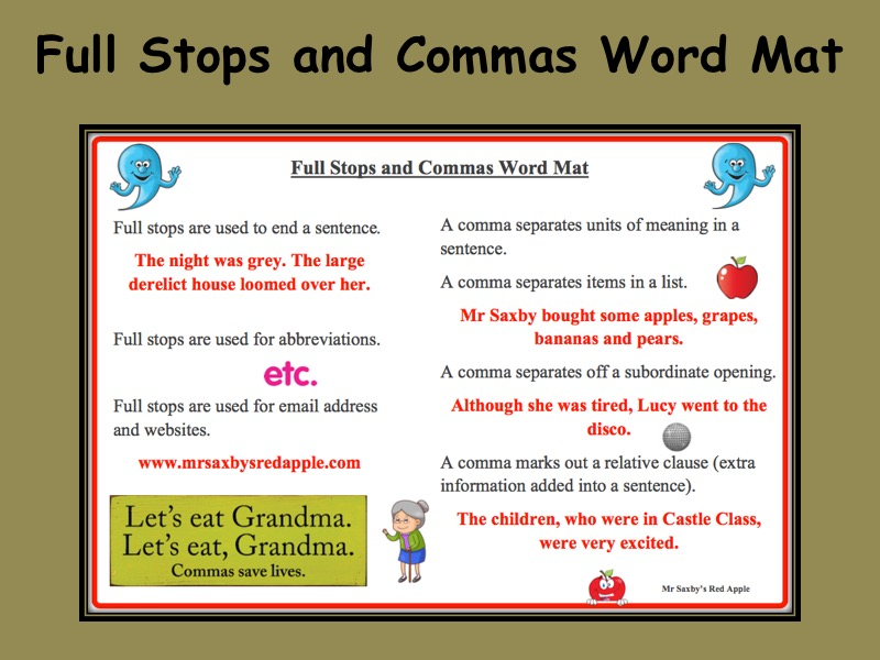 Full Stops and Commas Word Mat