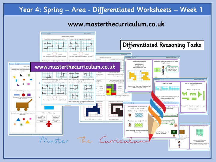 Year 4 – Week 1– Area - Differentiated Worksheets- Spring -White Rose Style