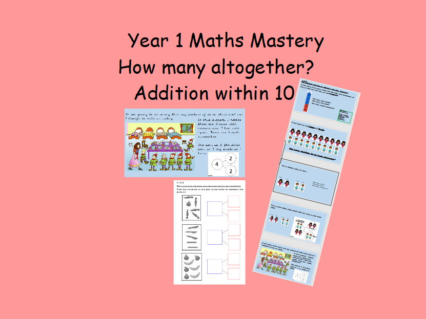 Year 1 maths mastery adaption - how many altogether - addition within 10 EDITABLE