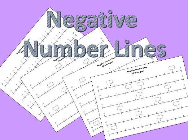 Negative Numbers, Number Line Worksheets