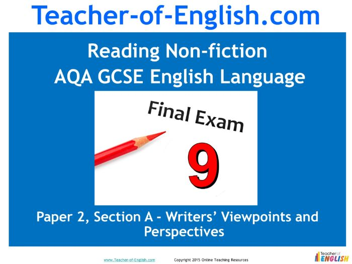 AQA 9-1 GCSE English Reading Non-fiction Texts (PowerPoint and worksheets)
