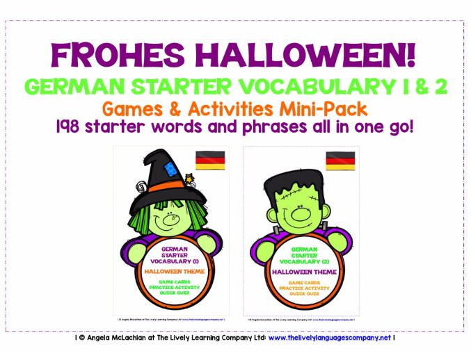 GERMAN STARTER VOCABULARY (1&2) - HALLOWEEN EDITION - GAMES & ACTIVITIES