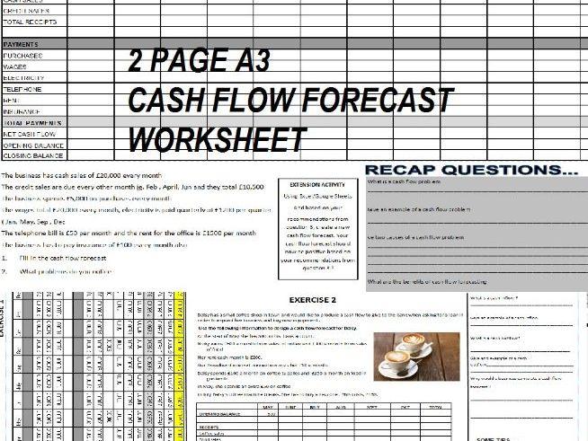 Cash Flow Forecasting A3 Worksheet  GCSE/IGCSE/BTEC BUSINESS STUDIES Enterprise-easy to use +answers