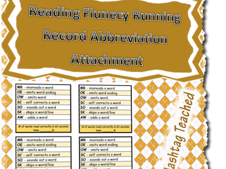 Reading Fluency Running Record Abbreviation Attachment