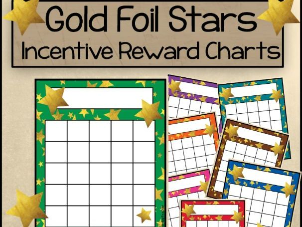 Gold Foil Star Incentive Reward Sticker Charts